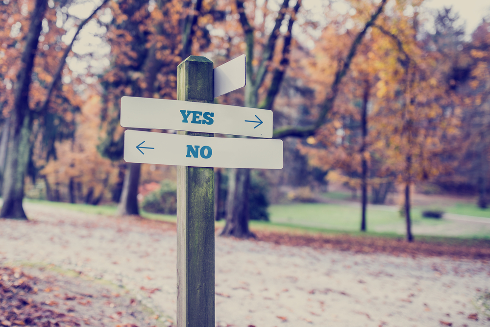 arrrows pointing to yes and no